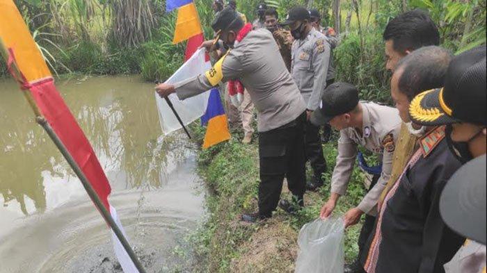 Kapolres Kunjungi Kampung Tangguh di Kecamatan Rikit Gaib, Lepas Bibit Ikan Mas dan Mujair
