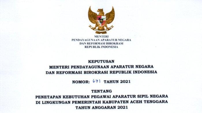 Formasi CPNS 2021 di Pemkab Aceh Tenggara,Cuma Dibuka Untuk Tenaga Guru PPPK, Jumlahnya 603 Lowongan