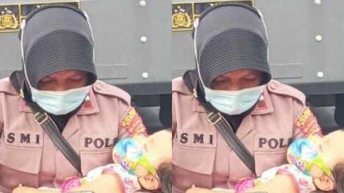 VIRAL Foto Polwan Amankan Sengketa Pilkada sambil Pangku Anak yang Tidur: Kami Tak Pernah Mengeluh