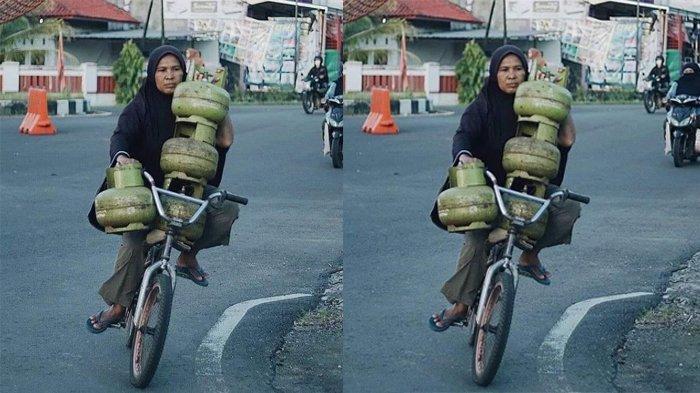 Foto Viral, Ibu-Ibu Bawa 4 Tabung Gas Sekaligus Sambil Kayuh Sepeda Cuma Pakai Satu Tangan