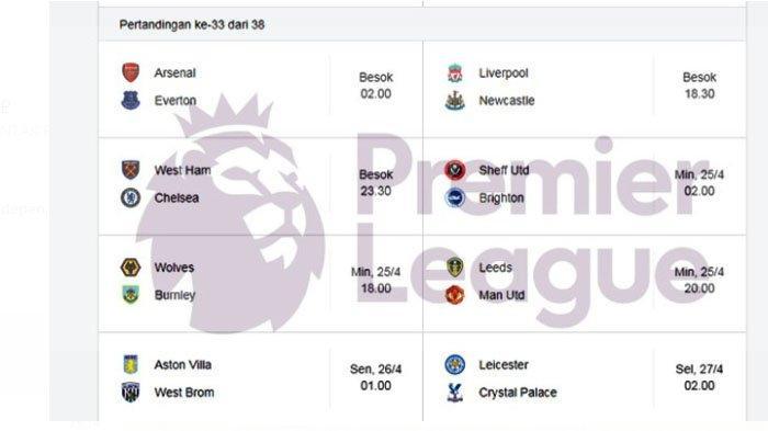Jadwal Liga Inggris - Ada Laga Panas Leeds United vs Manchester United dan Arsenal vs Everton