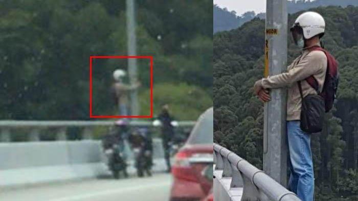 Gagal Rujuk Pria Berdiri di Tiang Fly Over Berencana Loncat, Beruntung Mantan Istri Datang Membujuk