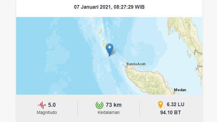 BREAKING NEWS - Aceh Diguncang Gempa 5 SR Pagi Ini setelah Bengkulu 5,8 SR dan Sulawesi Utara 6,4 SR