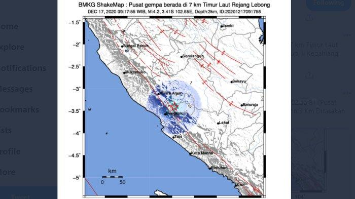 Gempa Hari Ini - Bengkulu Diguncang Dua Kali Gempa, yang Kedua Lebih Kuat, Pusatnya di Darat
