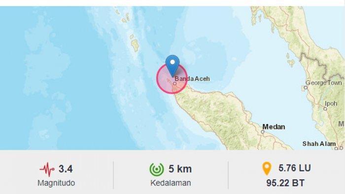 Gempa Hari Ini - Aceh Diguncang Gempa Lagi, Kedalamannya 5 Km, Dirasakan Skala MMI II di Sabang
