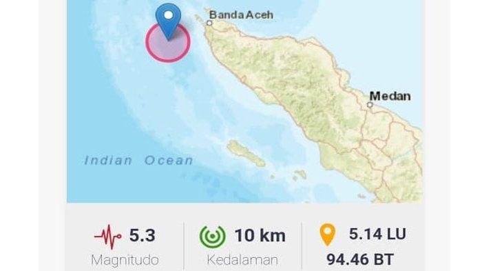 Gempa Berkekuatan 5,3 SR Guncang Banda Aceh dan Aceh Besar