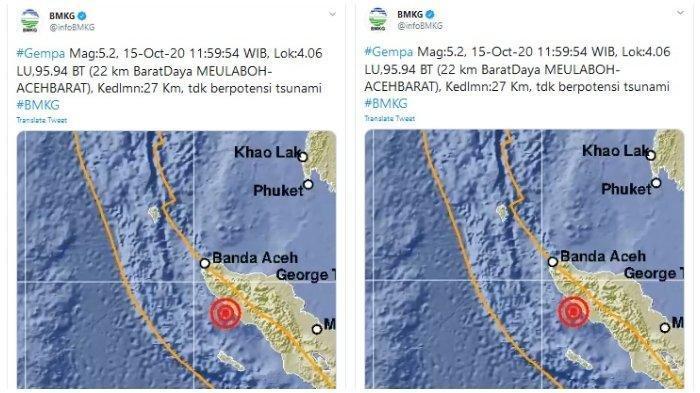 Gempa 5,4 SR Guncang Simeulue, Getarannya Terasa Hingga Abdya, Ini Hasil Pantauan BPBK