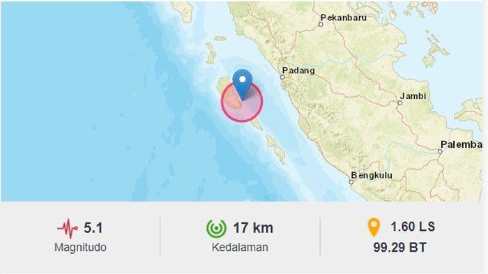 Gempa Hari Ini - Mentawai Sumatera Barat Kembali Diguncang Gempa Bumi Magnitudo 5,1
