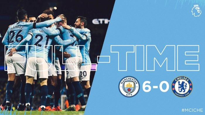 Hasil Liga Inggris - Manchester City Permalukan Chelsea 6-0 di Etihad Stadium, Aguero Hattrick Lagi