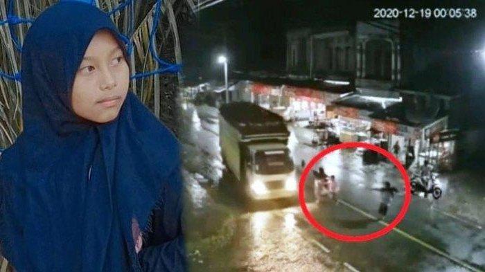 Haura Amalia (14) tewas terlindas truk yang dikemudikan ayahnya Husaini