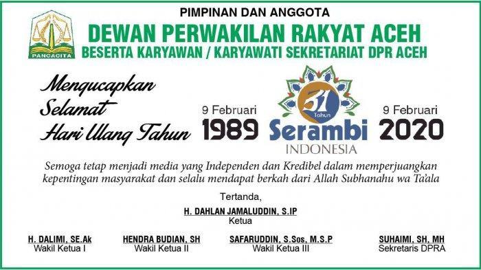 Ucapan Selamat HUT Harian Serambi Indonesia ke-31  dari DPR Aceh