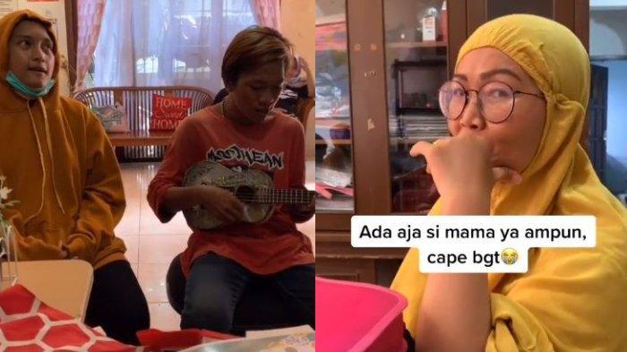 Seorang ibu berkerdung kuning (kanan) mempersilakan 2 pengamen (kiri) masuk ke rumahnya dan mengamen di ruang kerja. Ibu itu sangat khusyuk mendengar lagu 'Cinta Tak Direstui' yang dibawakan pengemen tersebut.