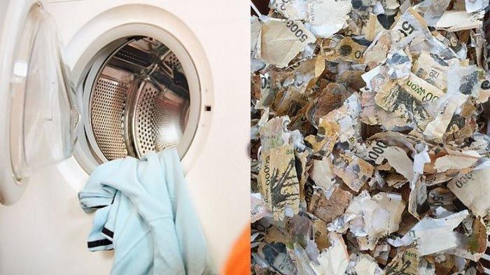 Cuci Uang Menggunakan Mesin Cuci, Pria Ini Mengalami Kerugian Besar, Uangnya Hancur