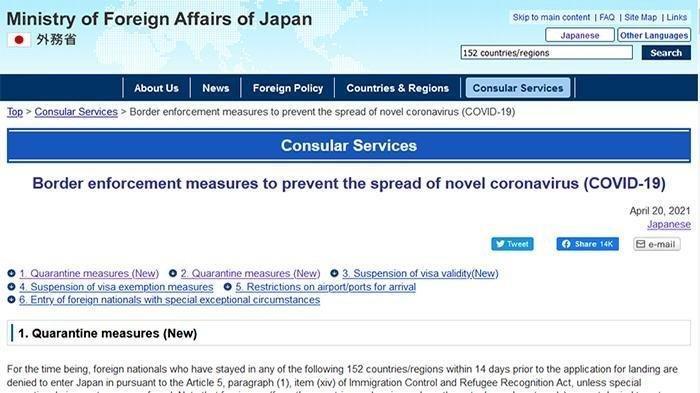 Semua Visa Tak Lagi Berlaku, Indonesia Bersama 151 Negara dan Wilayah Tak Boleh Lagi Masuk Jepang
