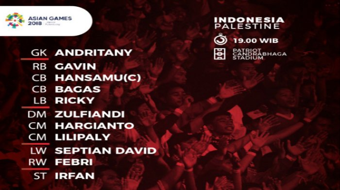 Live Streaming Sepak Bola Asian Games di SCTV - Line Up Timnas U-23 Indonesia vs Palestina