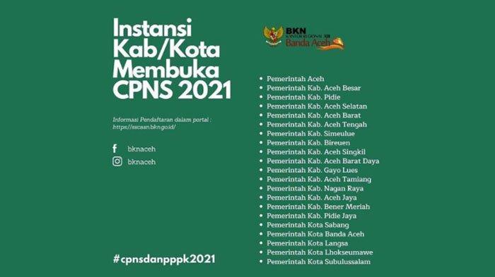 Siap-siap! Lowongan CPNS Pemerintah Aceh Tahun 2021 Segera Dibuka, Catat Formasi dan Linknya