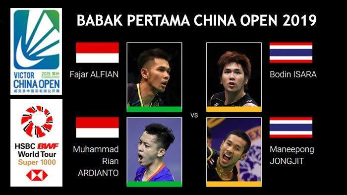 Jadwal China Open 2019 - Fajar/Rian dan Marcus/Kevin Main Hari Ini Mulai Pukul 09.00 WIB
