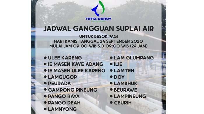 Besok, ada 17 Gampong di 3 Kecamatan Terganggu Suplai Air Bersih dari PDAM, Berikut Nama Desanya