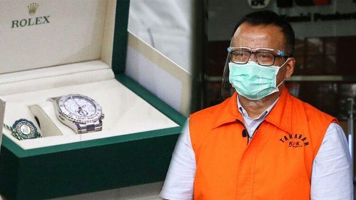 Jam tangan Rolex sebagai barang bukti ditunjukkan kepada wartawan dan Mantan Menteri Kelautan dan Perikanan Edhy Prabowo berjalan menuju mobil tahanan usai menjalani pemeriksaan, di Gedung KPK, Jakarta, Jumat (22/1/2021)