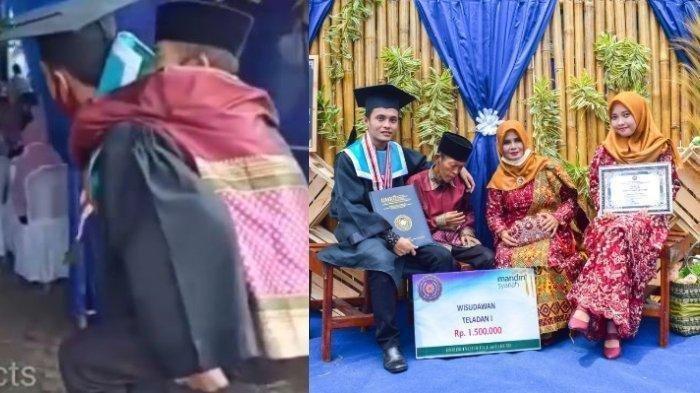 Viral Mahasiswa Gendong Ayah yang Sakit saat Wisuda, Ternyata Lulusan Terbaik
