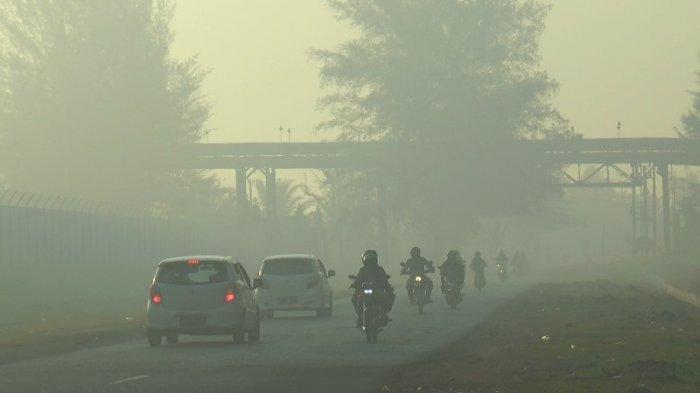 Kabut Asap Pekat Kembali Selimuti Jalan Nasional di Suak Puntong Nagan Raya, Titik Api di Pulo Ie