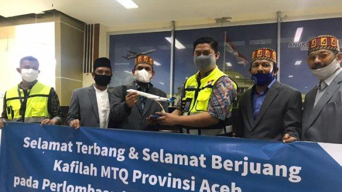 Kafilah MTQ Aceh Dilepas Manajemen Garuda di SIM, Disambut Tari Pasambahan di Minangkabau