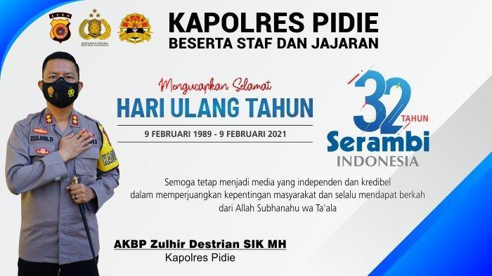 Ucapan Selamat HUT ke-32 Serambi Indonesia dari Kapolres Pidie