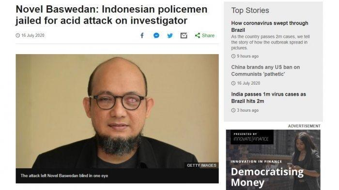 Media Asing Soroti Vonis 1,5 dan 2 Tahun Pelaku Penyiraman Novel Baswedan