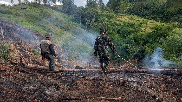 Tempuh Jalur Pendakian, TNI Padamkan Kebakaran Kebun Sere Wangi di Bukit Panglima Belas Blangkejeren