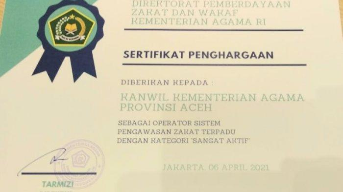 Kemenag Aceh Raih Penghargaan Terbaik Nasional sebagai Operator Sistem Pengawasan Zakat Terpadu
