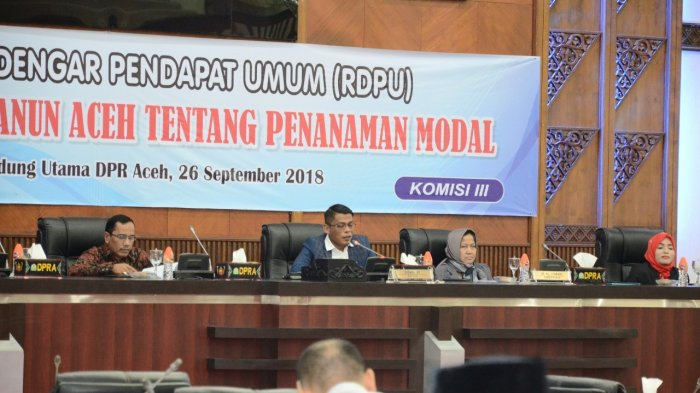 DPRA Gelar RDPU Raqan Penanaman Modal, Efendi Sulaiman: Kita Targetkan Akhir Tahun Ini Disahkan