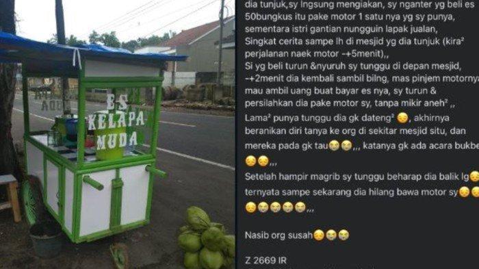 Kisah Penjual Es Kelapa Ditipu Pesanan 50 Bungkus, Modus Buka Puasa Bersama hingga Sepeda Motor Raib