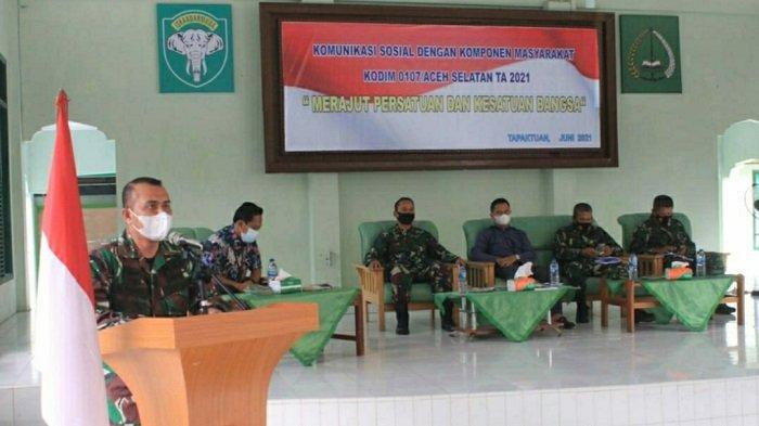 Kodim 0107/Asel Gelar Komsos, Ajak Masyarakat Aceh Selatan Cegah Penyebaran Covid-19