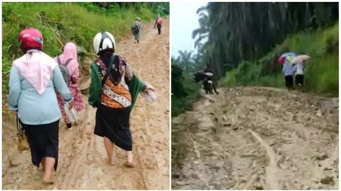 Sejumlah guru dan siswa SMAN2 Birem Bayeun, Aceh Timur, saat akan berangkat ke sekolah. Beberapa guru terlihat melepas sepatu, sebagian yang lain ada yang tetap memakainya, tetapi membungkusnya dengan kantong plastik. (Serambinews.com)