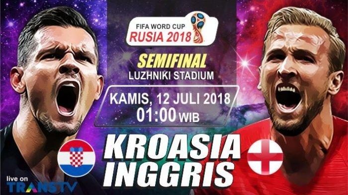 Semi Final Piala Dunia 2018 - Prediksi Kroasia Vs Inggris, Data dan Fakta Pertandingan