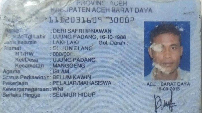 KTP atas nama Deri Safri Irnawan alias Nawan (33) asal Desa Ujong Padang, Kecamatan Manggeng, Kabupaten Abdya yang dilaporkan meninggal dunia di kawasan Sitiawan, Perak, Malaysia, Kamis (11/2/2021) pagi.