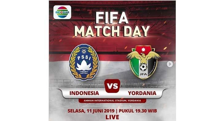 Link Live Streaming Timnas Indonesia vs Yordania, Nonton Pukul 19.30 WIB di SINI