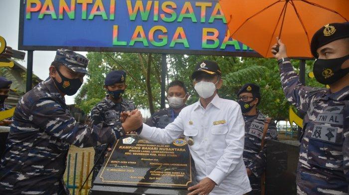 Danlanal Lhokseumawe Resmikan Kampung Bahari di Seunuddon