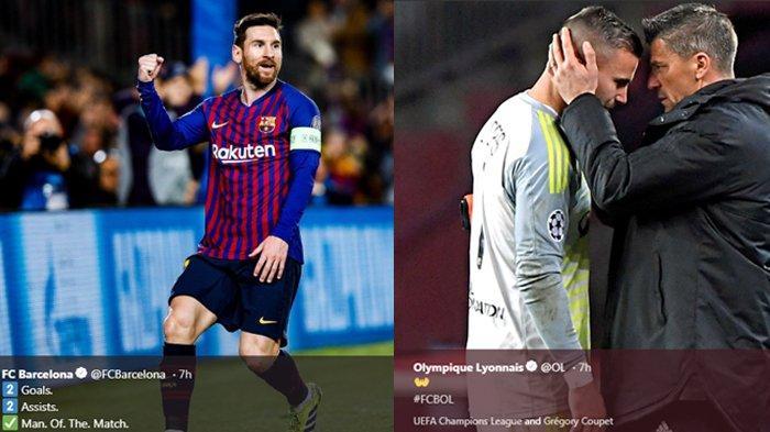 Hasil Liga Champions - Barcelona ke Perempat Final, Aksi Ciamik Messi Hingga Kiper Lyon Menangis