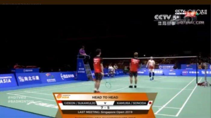 SEDANG BERLANGSUNG! Streaming Marcus/Kevin Vs Kamura Sonoda Semifinal Badminton Asia Championships