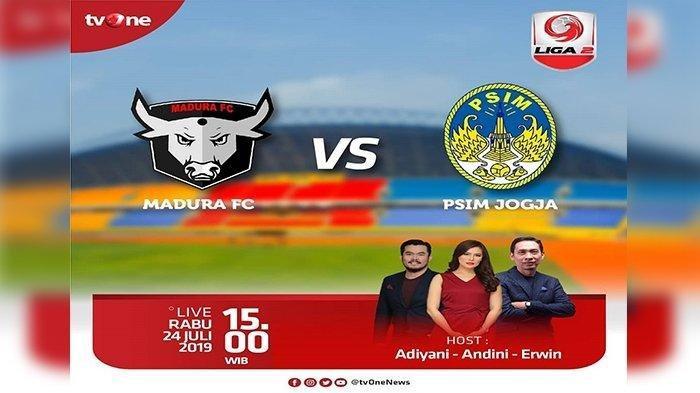 Link Live Streaming Liga 2 di TV One, Madura FC vs PSIM Yogyakarta, Tanding Pukul 15.15 WIB