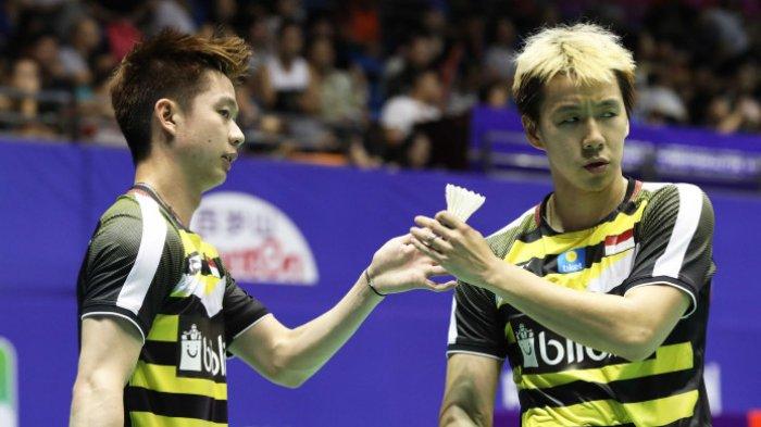 Hasil Final Denmark Open 2018 - Marcus/Kevin Unggul Sementara 1-0 atas Kamura/Sonoda
