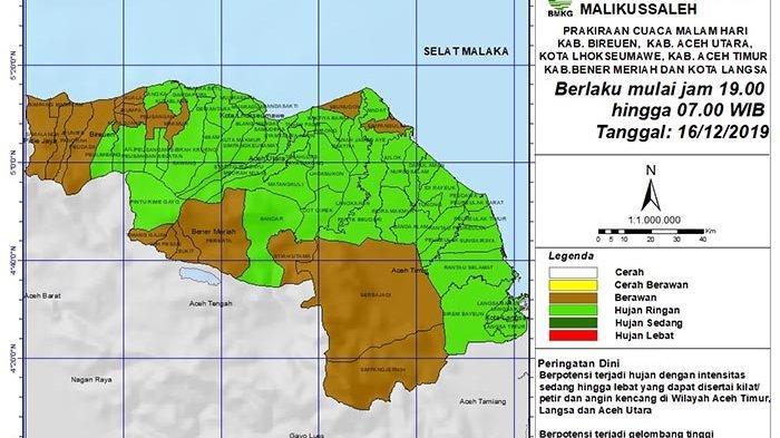 Besok, Berpotensi Terjadi Cuaca Ekstrim di Tiga Wilayah Aceh, Ini Data BMKG