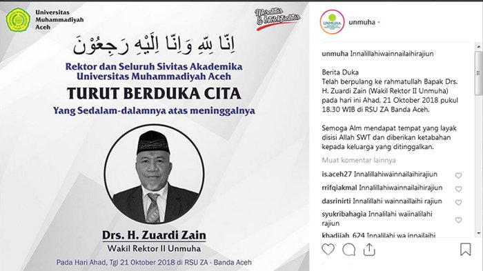Wakil Rektor II Universitas Muhammadiyah Aceh Zuardi Zain Meninggal Dunia