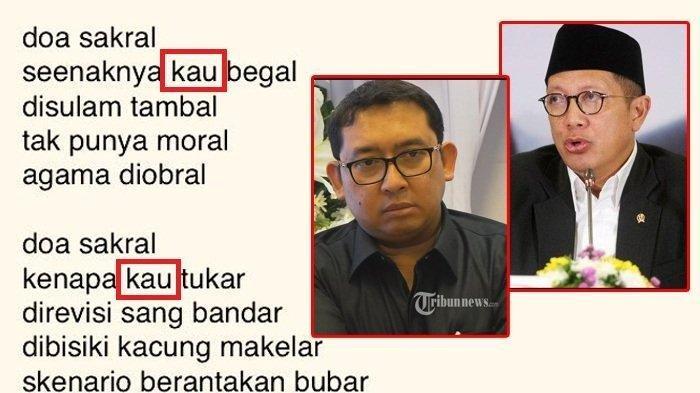 Penasaran dengan Puisi Fadli Zon, Lukman Hakim Saifuddin Tanya Sosok 'Kau' dalam 'Doa yang Ditukar'