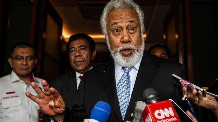 Menteri Perencanaan dan Investasi Strategis Timor Leste, Xanana Gusmao memberikan keterangan kepada wartawan seusai bertemu dengan Menteri Koordinator Bidang Politik Hukum dan Keamanan (Menko Polhukam), Mahfud MD di Kantor Kemenkopolhukam, Selasa (4/2/2020).