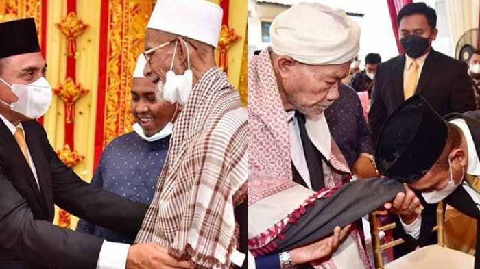 Momen Ketika Gubernur Sumut Edy Rahmayadi Cium Tangan Dua Ulama Aceh, Abu Tumin dan Abu Kuta