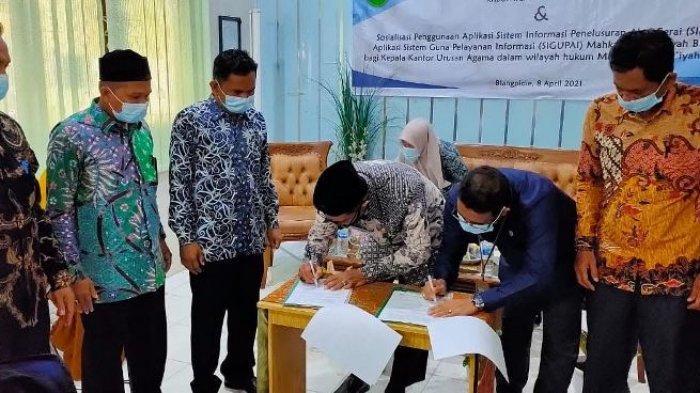 Mahkamah Syar'iyah Blangpidie & Kankemenag Abdya Jalin MoU, Juga Sosialisasi Aplikasi SIPA & SIGUPAI