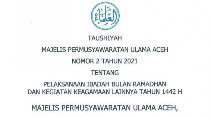 Hindari Penularan Covid-19, MPU Aceh Larang Kegiatan Buka Puasa Bersama