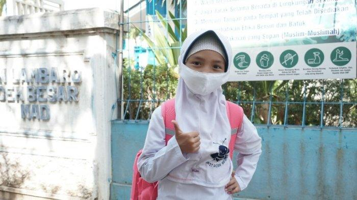 Nadja, Murid MIN 27 Lambaro Besar yang Siap Belajar Daring Maupun Tatap Muka di Tengah Pandemi
